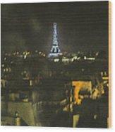 Blue Eiffel At Night Wood Print