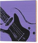 Blue Electric Guitar Wood Print