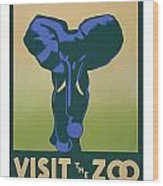Blue Elephant Visit The Zoo Wood Print