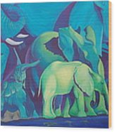 Blue Elephants Wood Print