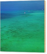 Blue Emerald. Peaceful Lagoon In Indian Ocean  Wood Print
