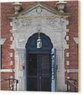 Blue Entrance Door Wood Print