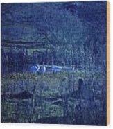 Blue Fantasy Swans Wood Print