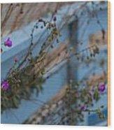 Blue Fence Purple Flowers Wood Print