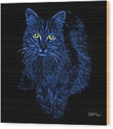 Blue Feral Cat - 9905 F Wood Print