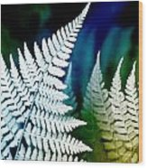 Blue Fern Leaf Art Wood Print