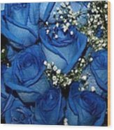 Blue Fire And Ice Roses Wood Print