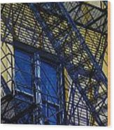 Blue Fire Escape Wood Print