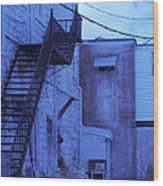 Blue Fire Escape Usa Near Infrared Wood Print