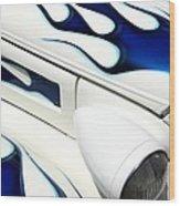 Blue Fire Wood Print