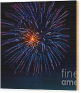Blue Firework Flower Wood Print