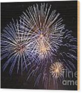 Blue Fireworks At Night Wood Print