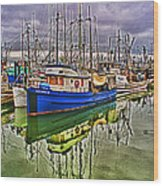 Blue Fishing Boat Hdr Wood Print