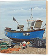 Blue Fishing Boat Wood Print