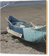 Blue Fishing Boat On The Beach Wood Print