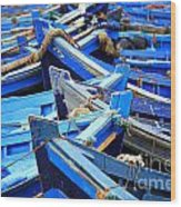 Blue Fishing Boats Wood Print