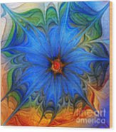 Blue Flower Dressed For Summer Wood Print by Karin Kuhlmann