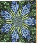 Blue Flower Star Wood Print by Annette Allman