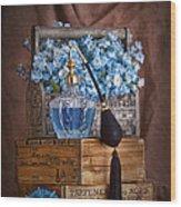 Blue Flower Still Life Wood Print