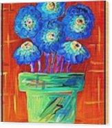 Blue Flowers On Orange Wood Print