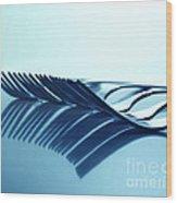 Blue Forks Wood Print