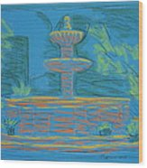 Blue Fountain Wood Print by Marcia Meade