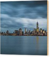 Blue Freedom Tower Wood Print