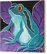 Blue Frog Purple Flower Wood Print