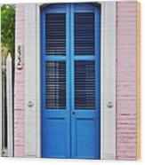 Blue Front Door New Orleans Wood Print