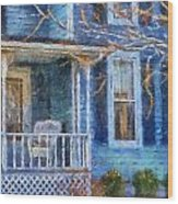 Blue Front Porch Photo Art 01 Wood Print