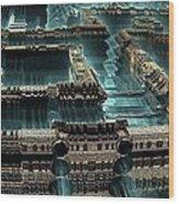 Blue Future City Wood Print by Bernard MICHEL