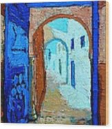Blue Gate Wood Print