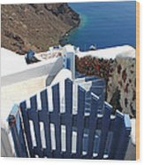 Blue Gate Oia Santorini Greek Islands Wood Print