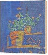 Blue Geranium Wood Print by Marcia Meade