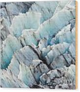Blue Glacier Ice Background Texture Pattern Wood Print