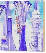 Blue Glass And Gecko Wood Print