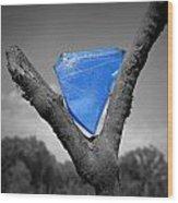 Blue Glass Art Wood Print