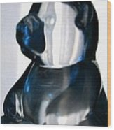 Blue Glass Bear Wood Print