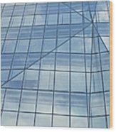 Blue Glass Chicago Facade Wood Print