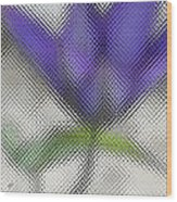 Blue Glass Flower Wood Print