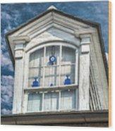 Blue Glass In Window Wood Print by Brenda Bryant