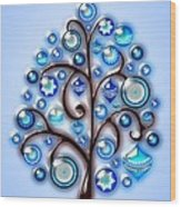 Blue Glass Ornaments Wood Print