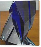 Blue Glass Sculpture Wood Print