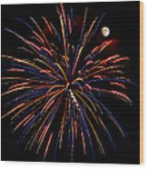 Blue Gold Pink And More - Fireworks And Moon Wood Print