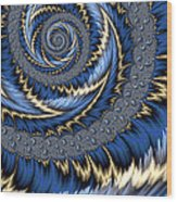 Blue Gold Spiral Abstract Wood Print