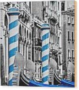 Blue Gondolas Wood Print