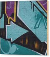 Blue Graffiti Arrow Square Wood Print