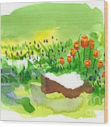 Blue Grape Hyacinths With Red Tulips And Tree Stump Wood Print