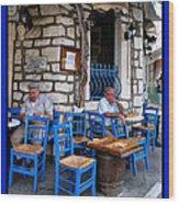 Blue Greek Taverna Wood Print
