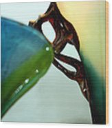 Blue Green Art Glass Wood Print